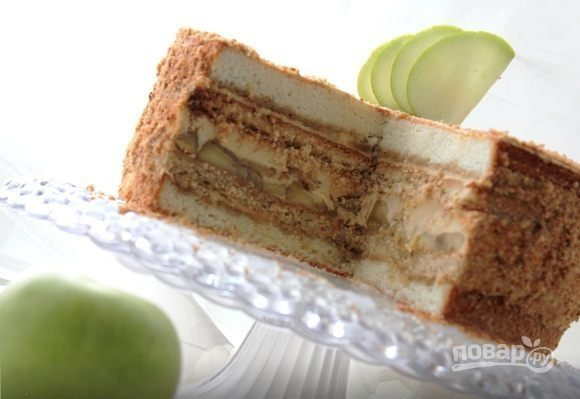 Яблочный торт с карамельным баварским муссом, пошаговый