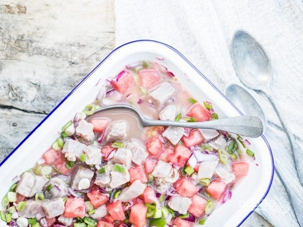 Севиче с тунцом и арбузом