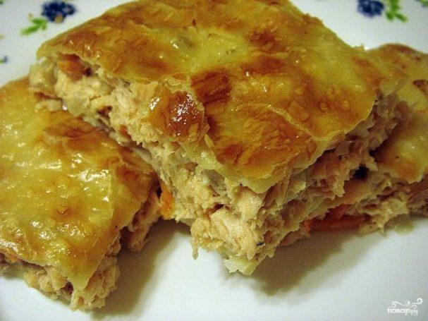 Слоеный пирог с курицей и грибами