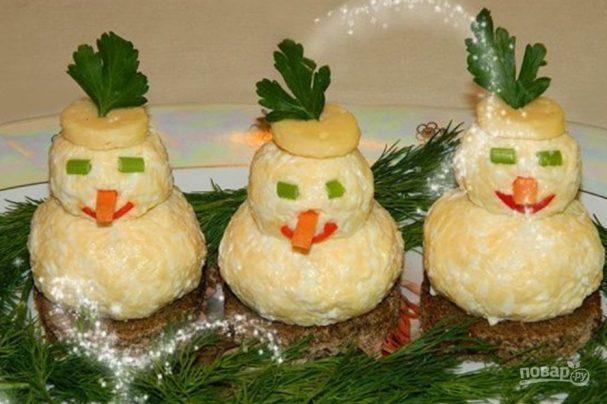 """Закуска """"Снеговики"""" к новогоднему столу"""