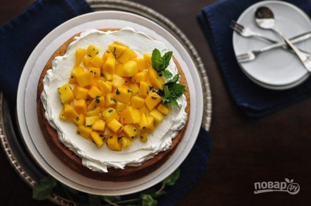 Кекс с манго и мятой