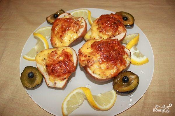 рецепт фото под с духовке с Груша в сыром запеченная креветками
