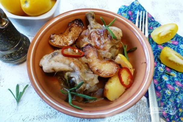 Курица с айвой в сидре