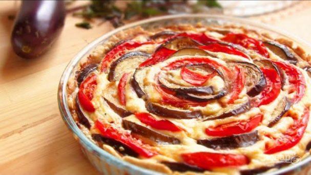 Творожный пирог с баклажанами