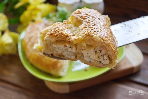 Витой пирог с творожно-сырной начинкой