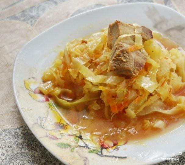 Капуста тушеная со свининой пошаговый рецепт