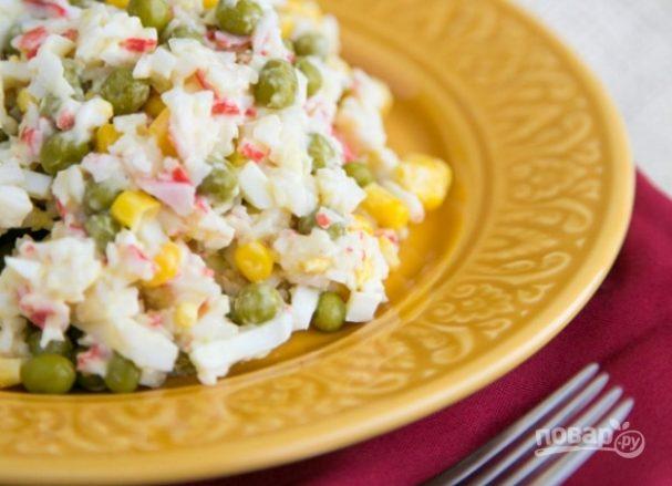 салат крабовые палочки рецепт классический пошаговый