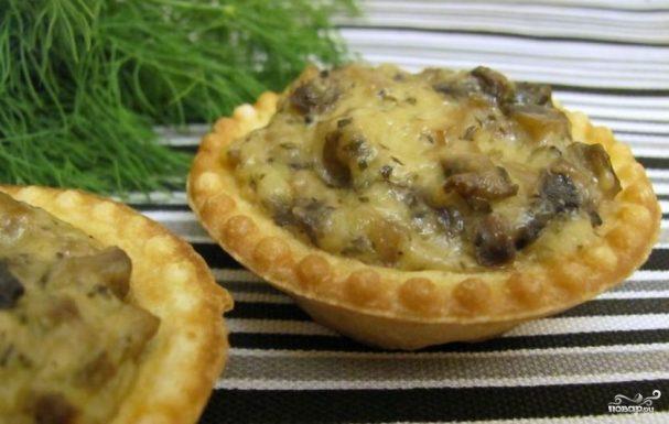 Тарталетки с грибами и сыром рецепт