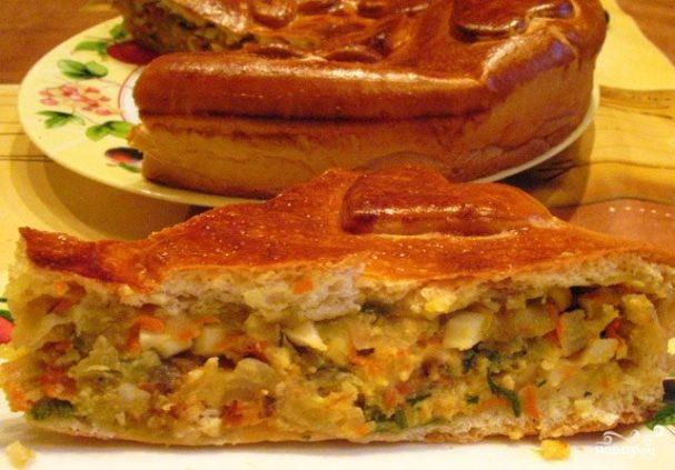 пирог с курицей капустой и яйцом