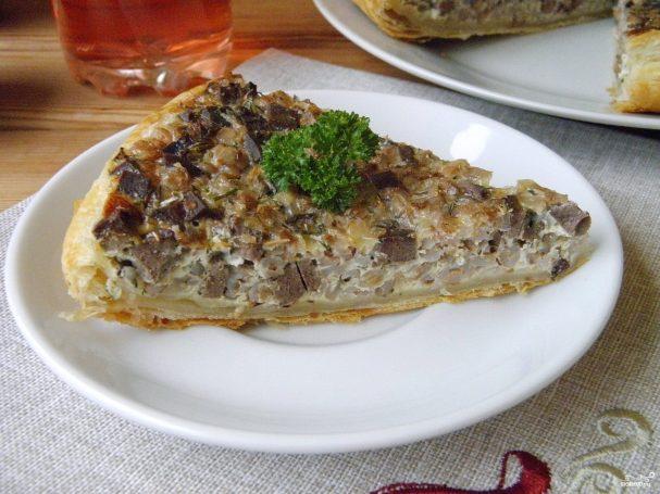 Пирог с гречкой и печенью