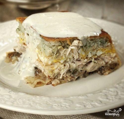 Пирог из блинов с мясом