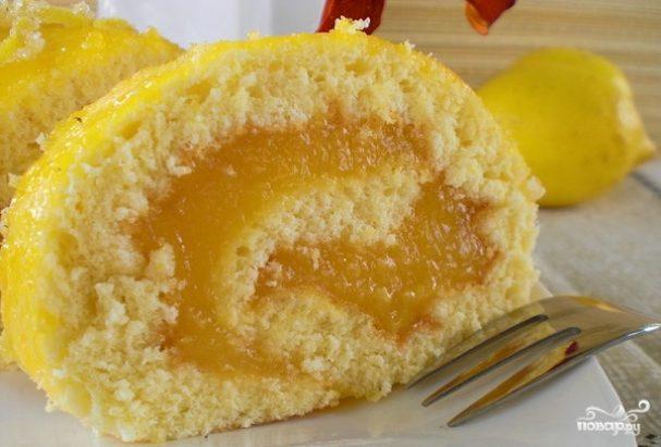 Лимонный рулет из бисквитного теста
