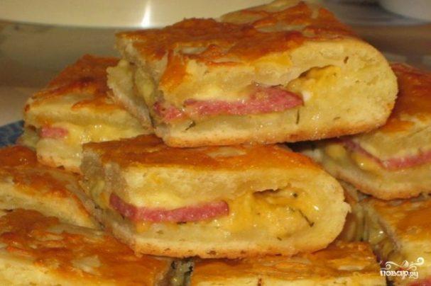 Пироги с колбасой рецепт пошаговый 14