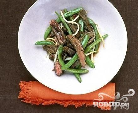 Глазированная говядина с зеленой фасолью