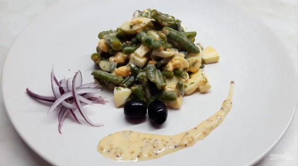 Салат с зеленой фасолью и яйцом