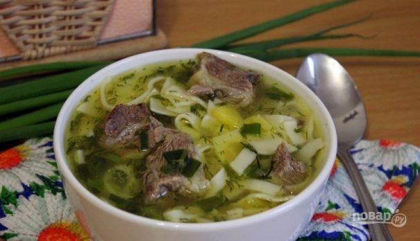 Суп: лапша с говядиной