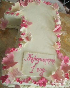 "Торт ""Единичка для девочки"""