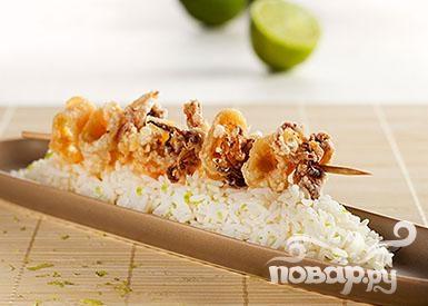 Хрустящие кальмары с рисом