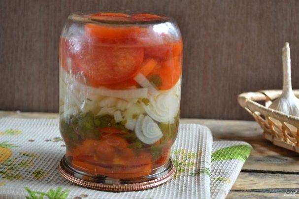 рецепты закуски из помидор с луком на зиму