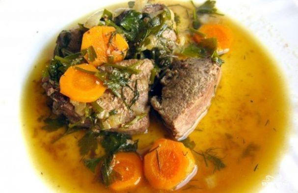 печень говяжья рецепты тушеная с луком и морковью со сметаной