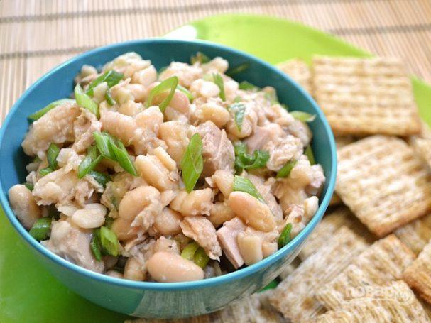 Салат из белой фасоли с курицей рецепт с