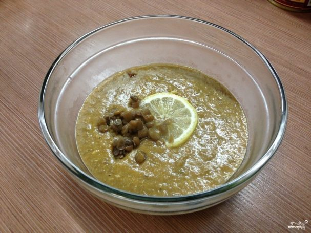 Суп-пюре из чечевицы зеленой