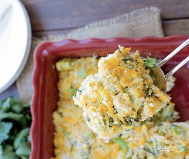 Запеканка из овощей с курицей и сыром