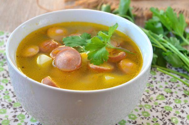 Быстрый суп с сосисками