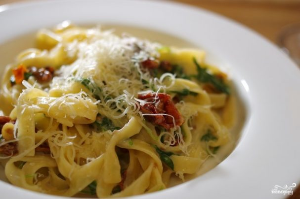 Спагетти с вялеными помидорами рецепт