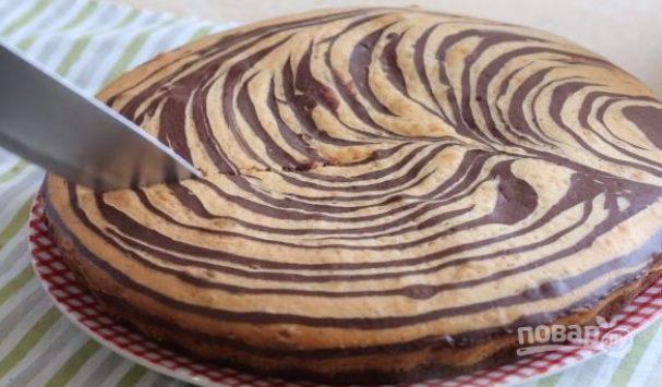 """Корж для шоколадного торта """"Зебра"""""""