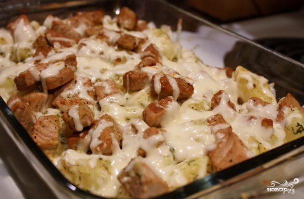 Сырная запеканка с мясом и картофелем