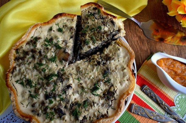 Пирог с печенью и грибами