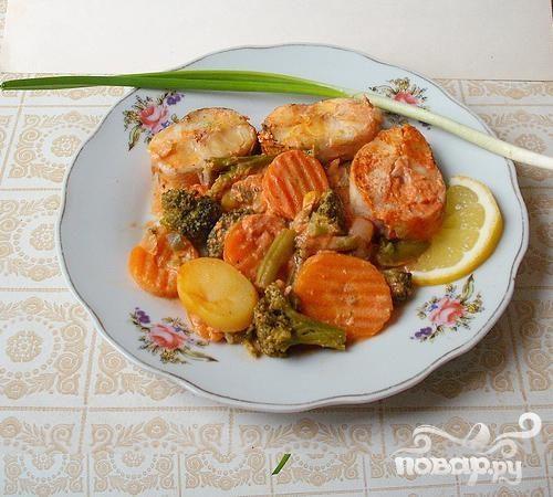 Нототения запеченная с овощами