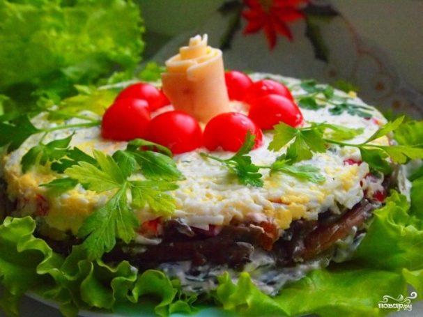Слоеный салат с грибами