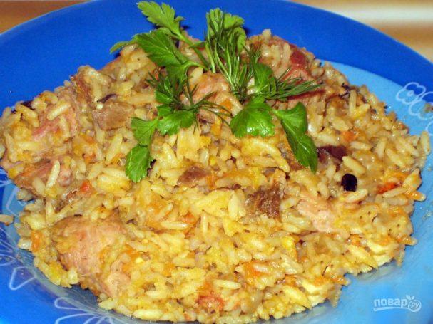 Чечевица с рисом, грибами и морковью