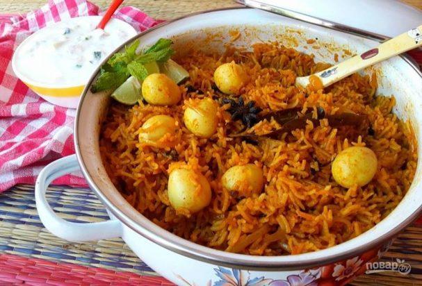 Рис с перепелиными яйцами