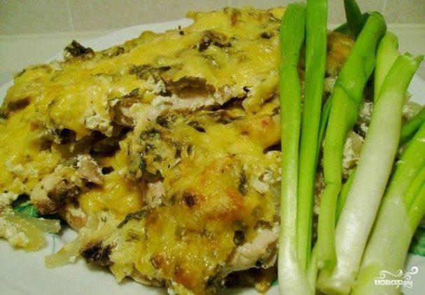 Отбивная с грибами и сыром