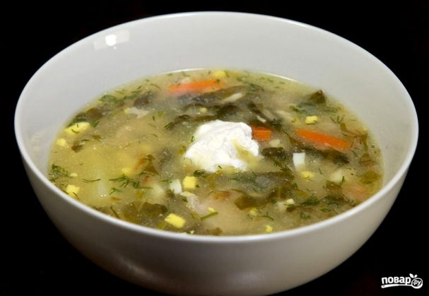 Щавелевый суп со свининой