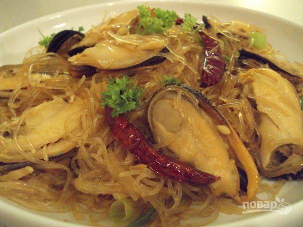 Фунчоза с морепродуктами рецепт и пошаговым приготовлением и фото