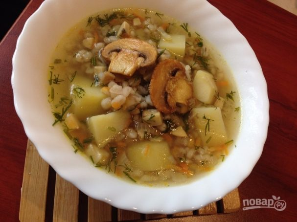 Суп грибной с перловкой