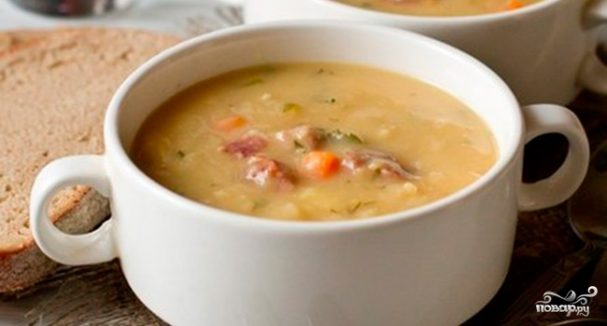 Гороховый суп с копчеными рёбрышками