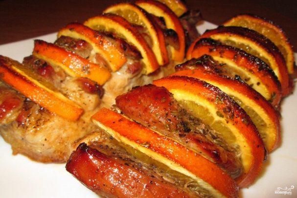 Мясо с апельсинами в духовке
