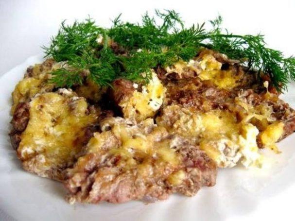 Мясо порционное, запеченное в духовке