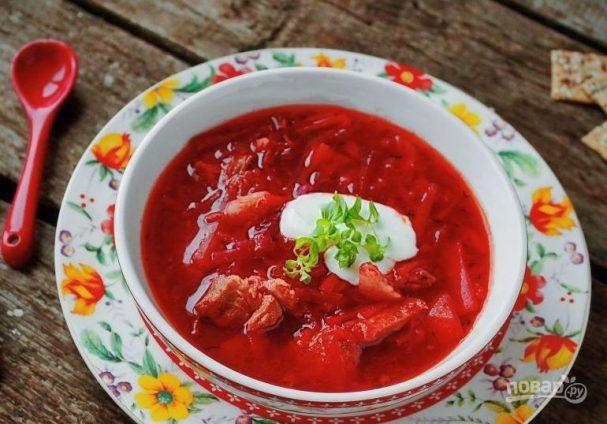 рецепт борща со свеклой и капустой пошаговый рецепт с мясом