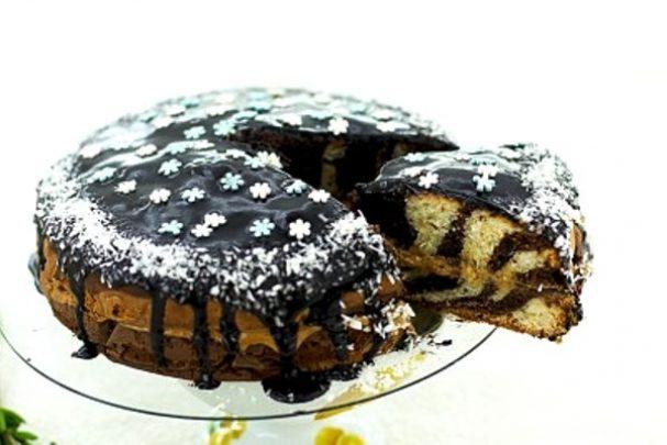 "Торт ""Зебра"" на сметане"