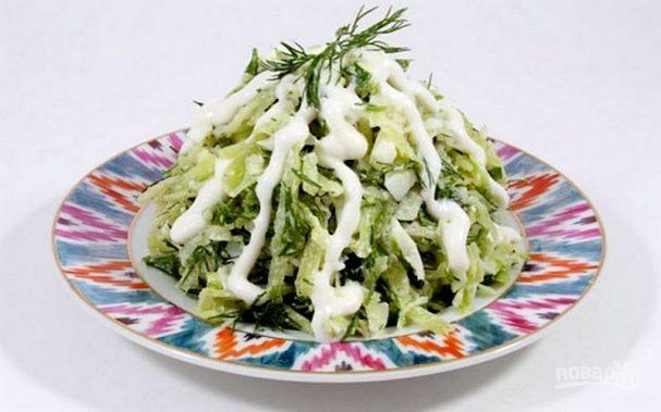 Салат из репы и редьки со сметаной