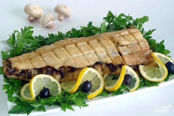 Рыба по-царски с грибами
