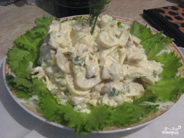 быстрый салат из кальмаров рецепт с фото
