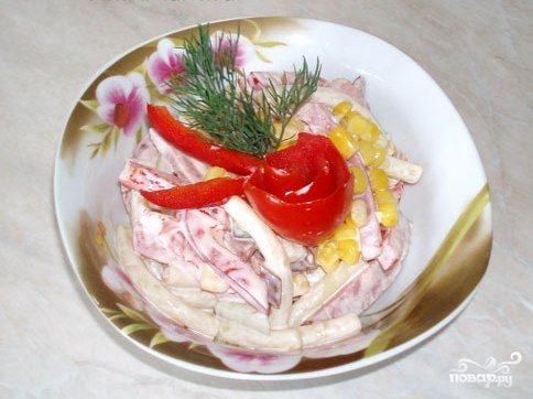 Салат с кукурузой и ветчиной
