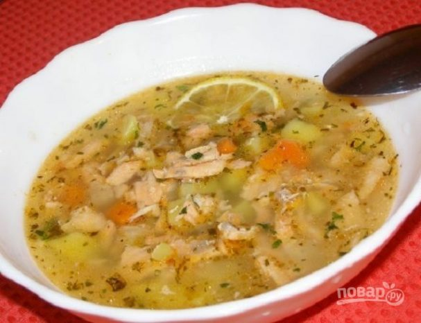 Овощной суп с семгой